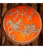 Photophores en bois motifs, écureuil, chat et oiseaux