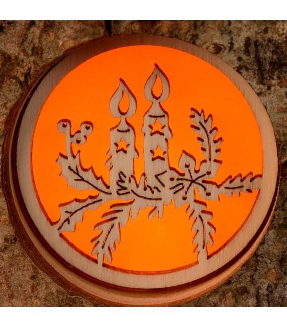 Bougeoir photophore en bois crèche, père Noël et bougies