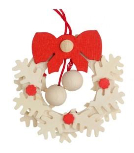 Suspension de Noël, couronne de l'Avent avec noeud rouge et boules blanches