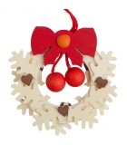 Suspension de Noël, couronne de l'Avent avec noeud rouge et boules rouges
