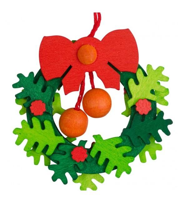 Suspension de Noël, couronne de l'Avent avec noeud rouge et boules oranges