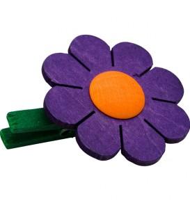 Fleurde marguerite en bois à clipser n° 1mauve