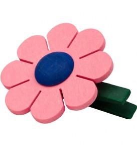 Fleur de marguerite en bois à clipser n° 3 rose