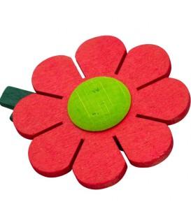 Fleur de marguerite en bois à clipser n° 8 rouge