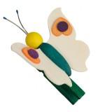 Papillon en bois à clipser n° 1 mauve