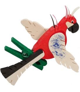 Perroquet en bois à clipser n° 4 rouge et bois naturel