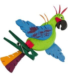 Perroquet en bois à clipser n° 5 vert et bleu
