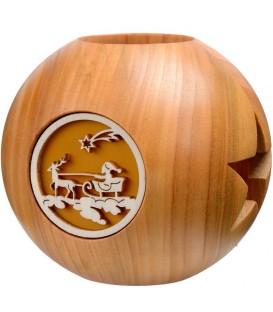 Photophore en bois forme sphérique, motif père Noel et rennes