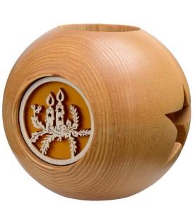 Photophore en bois, forme sphérique, motif bougies de Noël