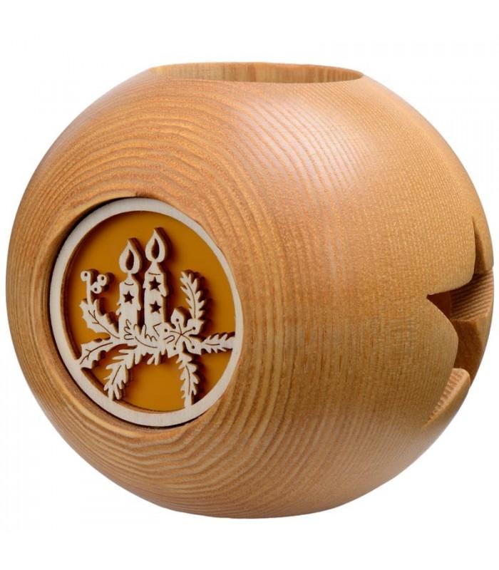 photophore en bois de forme ronde 10 cm motif motif bougies de noel. Black Bedroom Furniture Sets. Home Design Ideas
