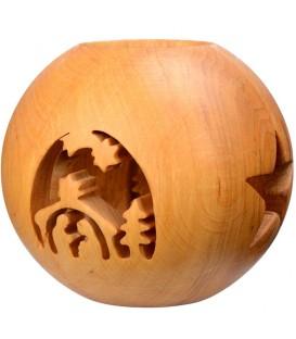 Photophore en bois, forme sphérique, motif crèche