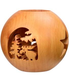 Photophore en bois forme sphérique, motif, motif élan