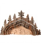 Crèche de Noël taillée dans une écorce de bois, motif grotte, 20 cm