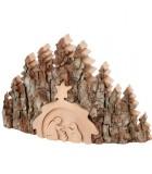 Crèche de Noël taillée dans une écorce de bois, motif étable