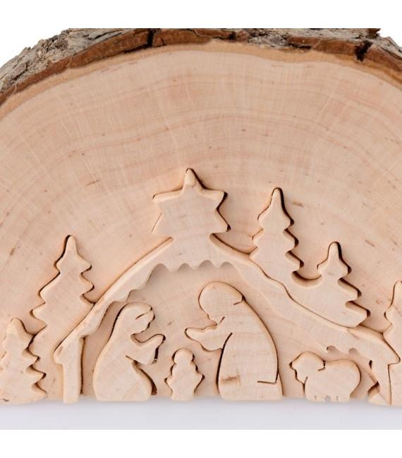Crèche de Noël en relief, taillée dans un rondin de bois, 12 cm