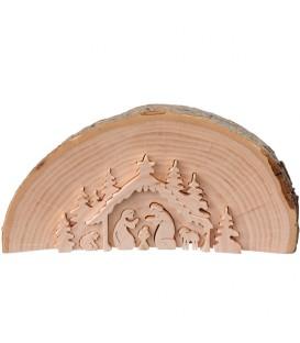 Crèche de Noël en relief, taillée dans un rondin de bois, 15 cm