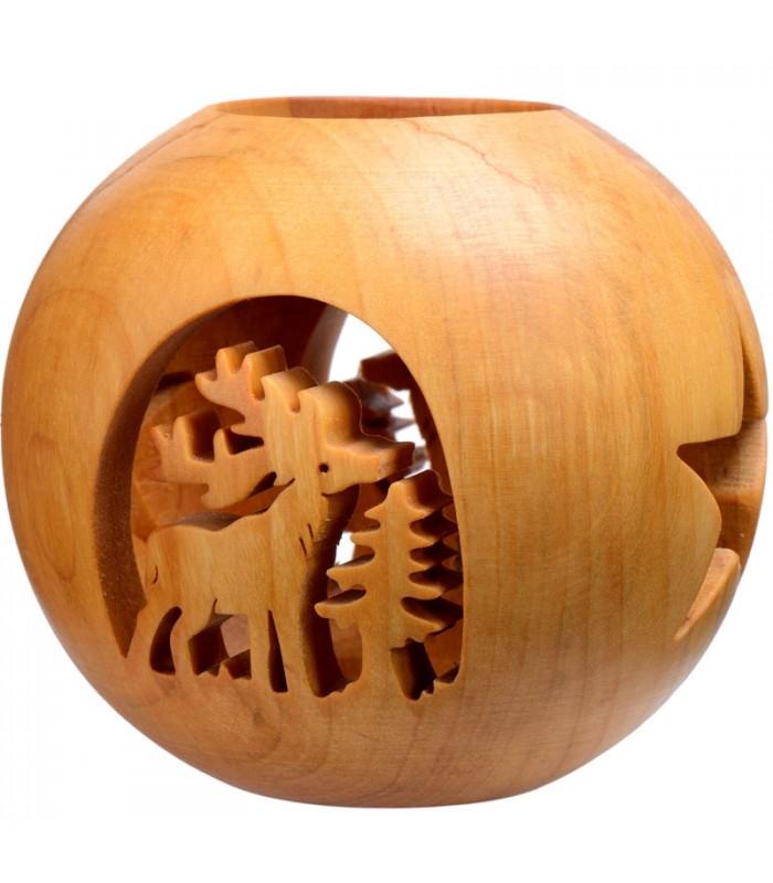 photophore en bois forme sph rique avec motif cerf dans la for t 10 cm. Black Bedroom Furniture Sets. Home Design Ideas