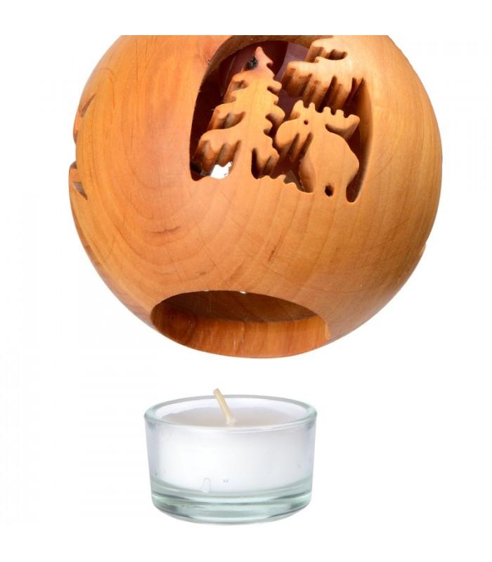 photophore en bois forme sph rique avec motif lan dans une for t 10 cm. Black Bedroom Furniture Sets. Home Design Ideas