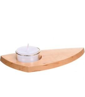 Bougeoir photophore en bois avec coupelle verre