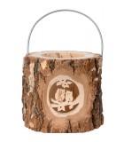 Lanterne photophore en bois, couple hiboux