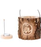 Photophore en bois lanterne, couple hibou