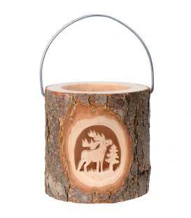 Lanterne photophore en bois, cerf en forêt