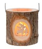 Photophore lanterne en bois, cerf