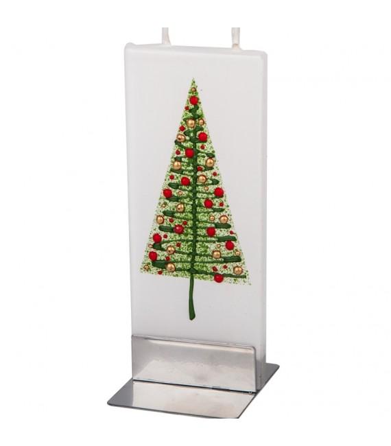 Bougie design sapin de Noël boules multicolores