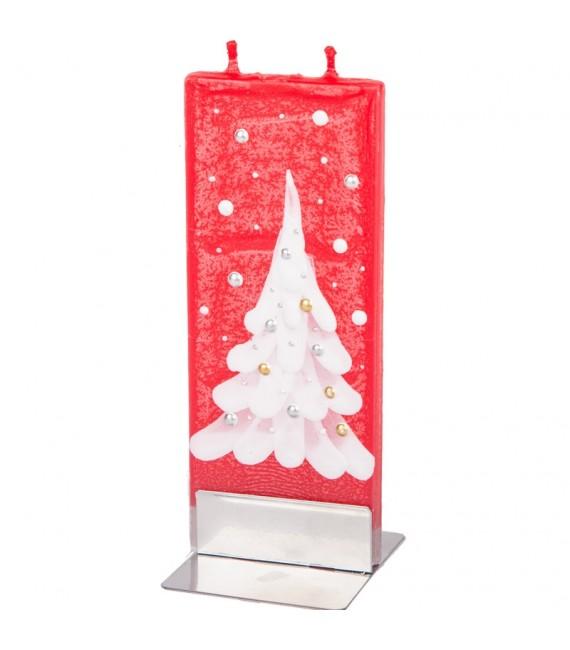 Bougie de Noël rouge et sapin blanc