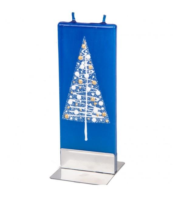 Bougie bleue décorative avec sapin de Noël boules dorées et blanches