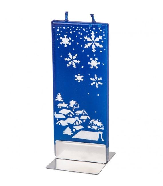 Bougie de Noël village et flocons de neige