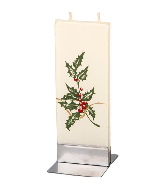 Bougie pour la décoration de Noël, feuille de houx