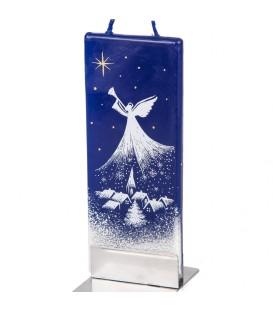Ange blanc bougie décorative village nuit de Noël