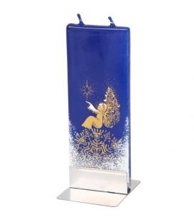 Ange dorée et étoile sur bougie nuit de Noël
