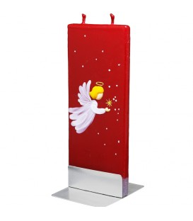 Bougie rouge de Noël et ange blanc
