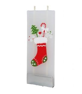 Bougie décorative chaussette de Noël et cadeaux