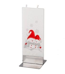 Bougie de Noël enfantines bonhommes de neige avec bonnet rouge