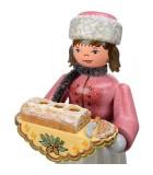 Personnage porte encens jeune fille et gâteau