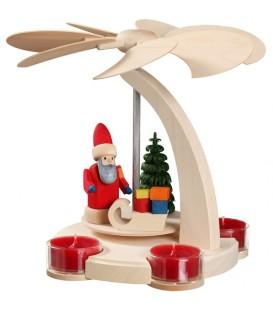 Carrousel en bois père Noël avec 4 bougeoirs