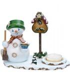 Personnage porte encens bonhomme de neige avec bougeoir