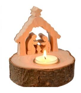 Crèche de Noël sur rondin de bois avec bougeoir
