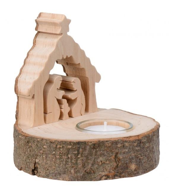 Crèche de Noël en bois avec bougie
