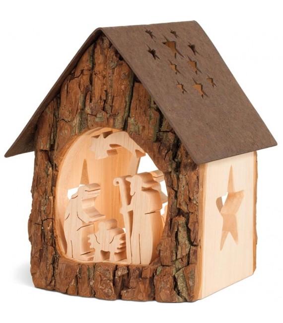 Lanterne crèche de Noël avec figurines ciselées, 14 cm