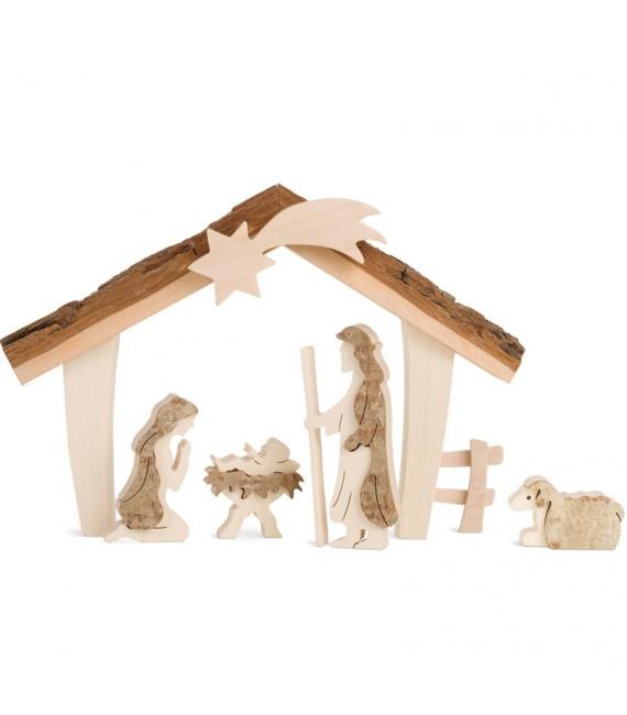 Etable de Béthléem avec figurines en écorce, 17 cm