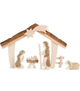 Etable de Béthléem avec figurines en écorce, 12,5 cm