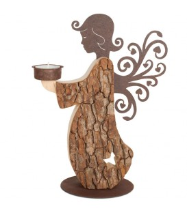 Statuette ange de Noël en bois avec bougeoir 27 cm
