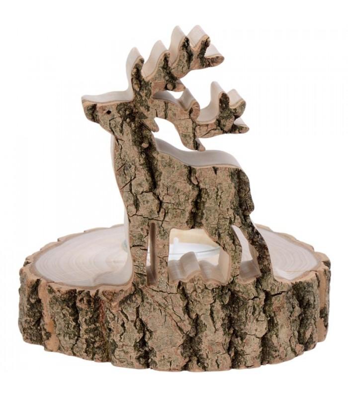 bougeoir bois brut motif cerf. Black Bedroom Furniture Sets. Home Design Ideas