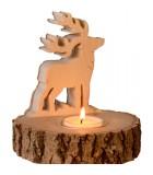 Bougeoir en bois brame du cerf, 13 cm