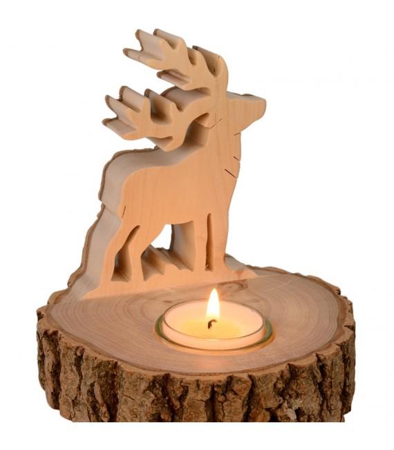 Bougeoir cerf en écorce de bois