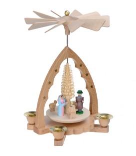 Mini pyramide de Noël en bois avec nativité